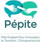 Le logo Pépites le réseau national d'étudiants entrepreneurs en partenariat avec les couveuses d'entreprises