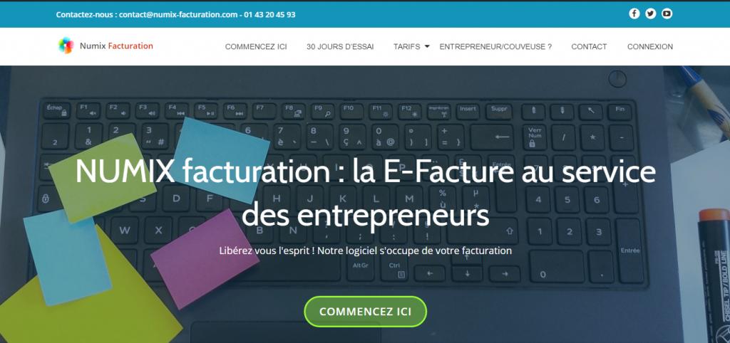 La page d'accueil de Numix Facturation conçu par l'Union des couveuses d'entreprises