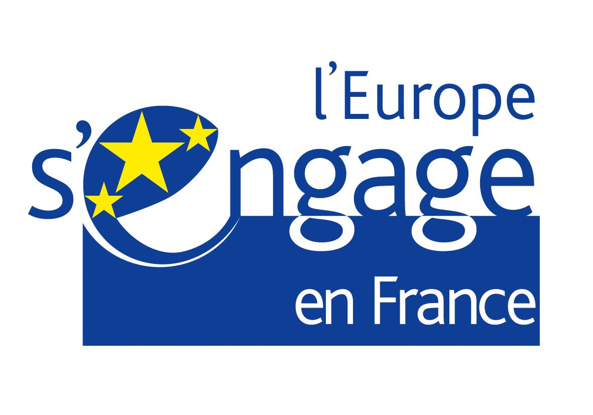 Le logo du FSE qui soutient le réseau des couveuses d'entreprises